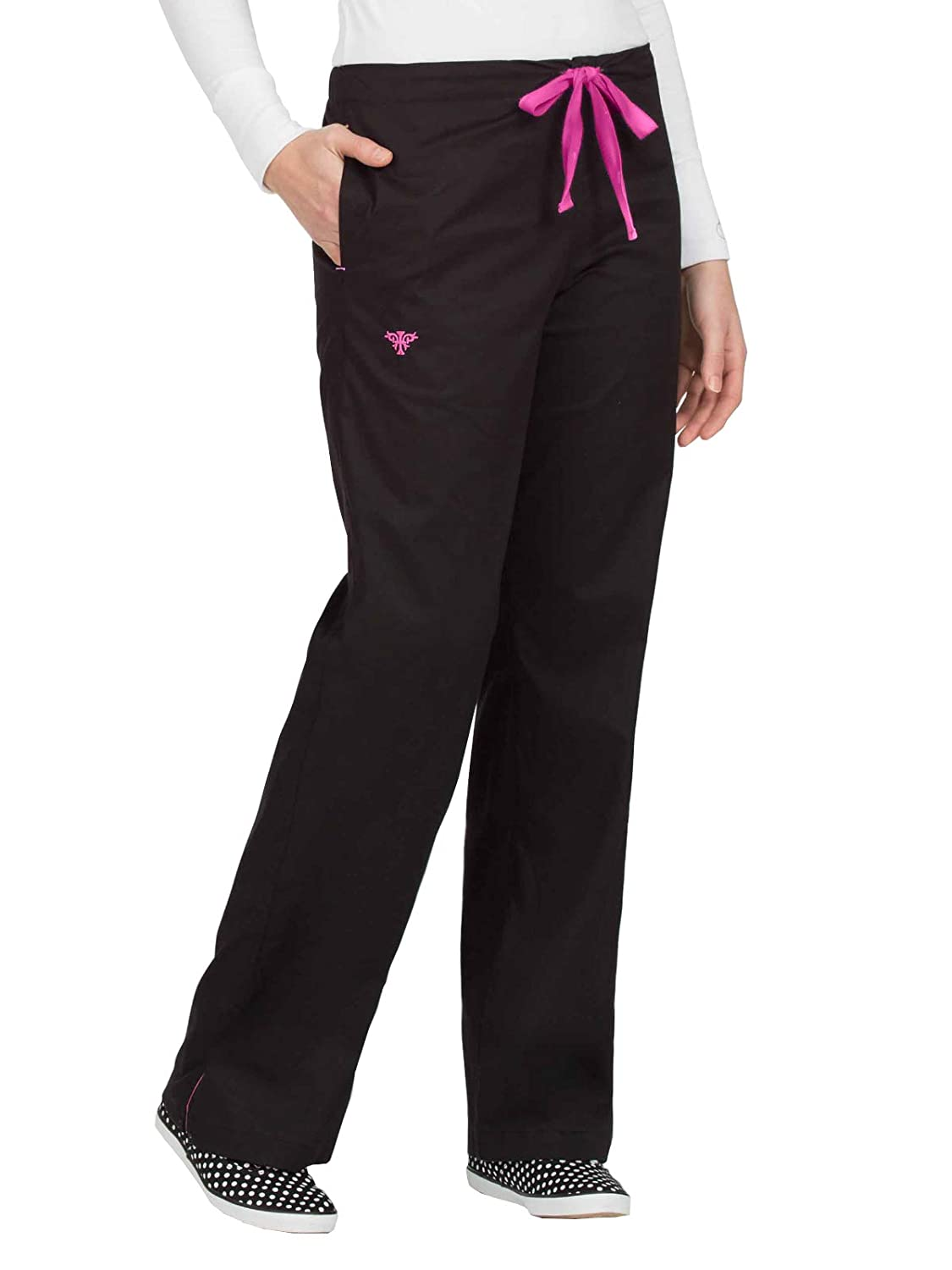 Black With Raspberry Med Couture Women's Signature Drawstring Scrub Pant