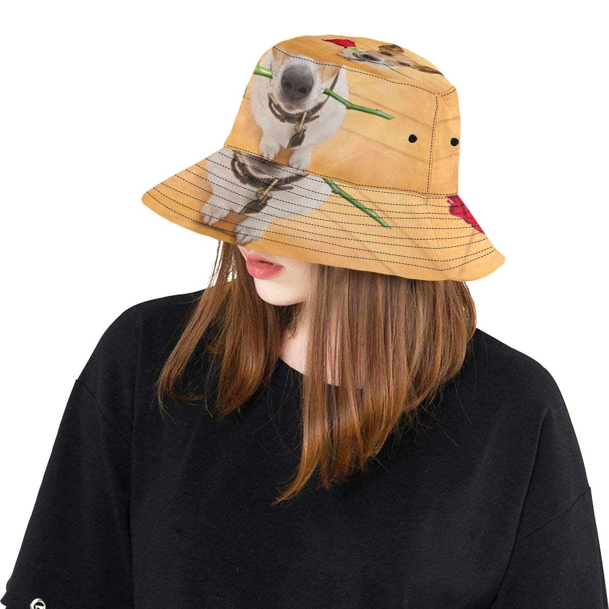 Rose Love Dog Summer Unisex Fishing Sun Top Bucket Hats for Kid Teens Women and Men with Packable Fisherman Cap for Outdoor Baseball Sport Picnic