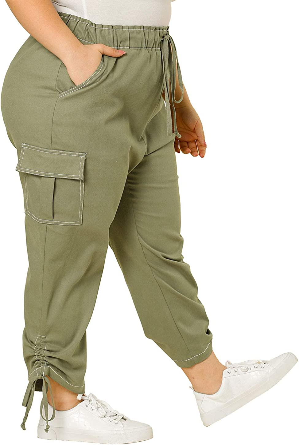Agnes Orinda Women S Plus Size Drawstring Elastic Waist Cargo Pants With Pockets At Amazon Women S Clothing Store