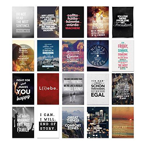 VISUAL STATEMENTS® Postkarten Set mit Sprüchen / Verschiedene Varianten / Hochwertige Spruchkarten / 350g Bilderdruckkarton / 12 x 17,5 cm (XXL) / 20 verschiedene Motive / 20er Set Nr. 2