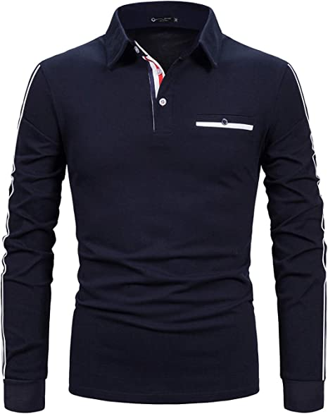 STTLZMC Casual Polo Hombre Mangas Largas Slim Fit Camisetas ...