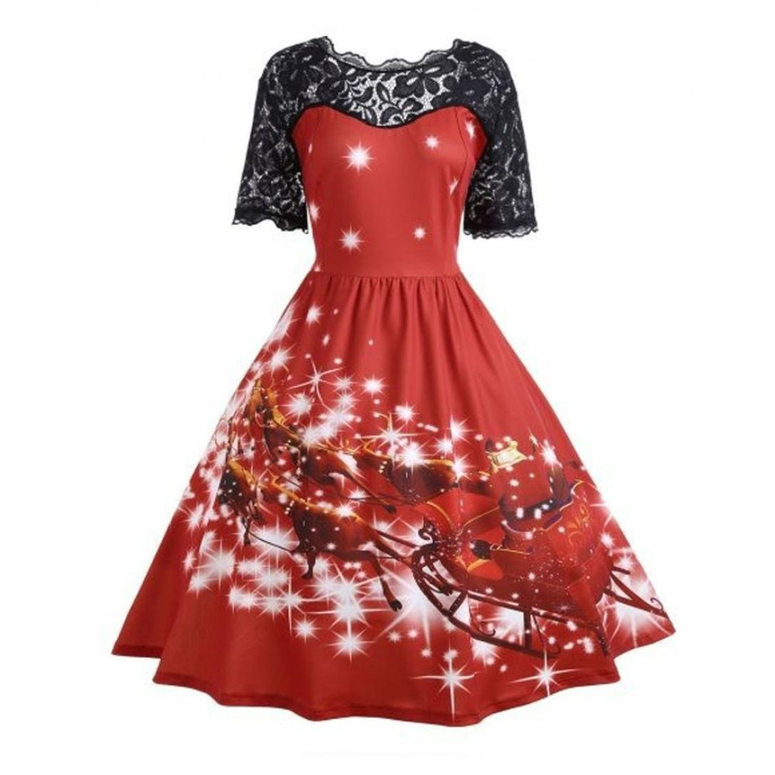 ASTV Womens Christmas Party Dress Ladies Vintage Xmas Swing Lace Dress
