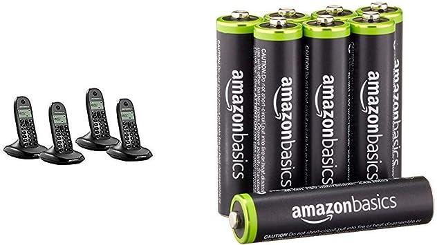 Motorola MOT31C1004N - Teléfono inalámbrico DECT, Color Negro & AmazonBasics: Amazon.es: Electrónica
