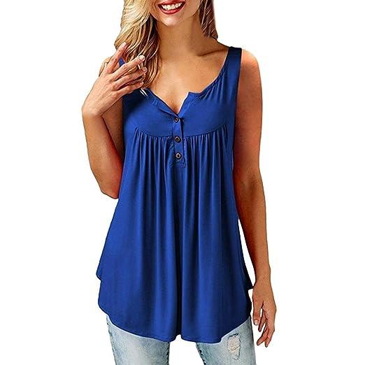 Logobeing Verano Blusas Camisetas Mujer Originales Tirantes Fitness Sin Mangas Camisas Blusas Top con Botones