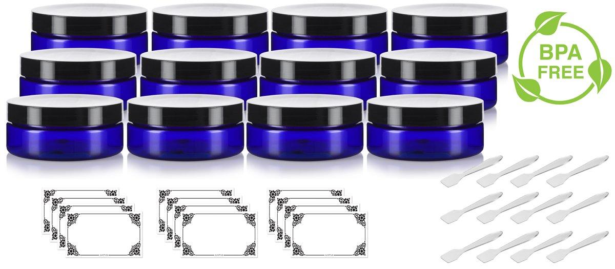 Cobalt Blue 6 oz PET BPA Free Plastic Jar 12 pack Spatulas