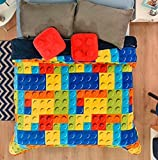 LIMITED EDITION BLOCK LEGO TOYS KIDS BOYS CUTE COLLECTION BLANKET WITH SHERPA VERY SOFTY THICK AND WARM,SHEET SET ,SHAMS AND DECORATIVE TOSSPILLOWS 9 PCS QUEEN