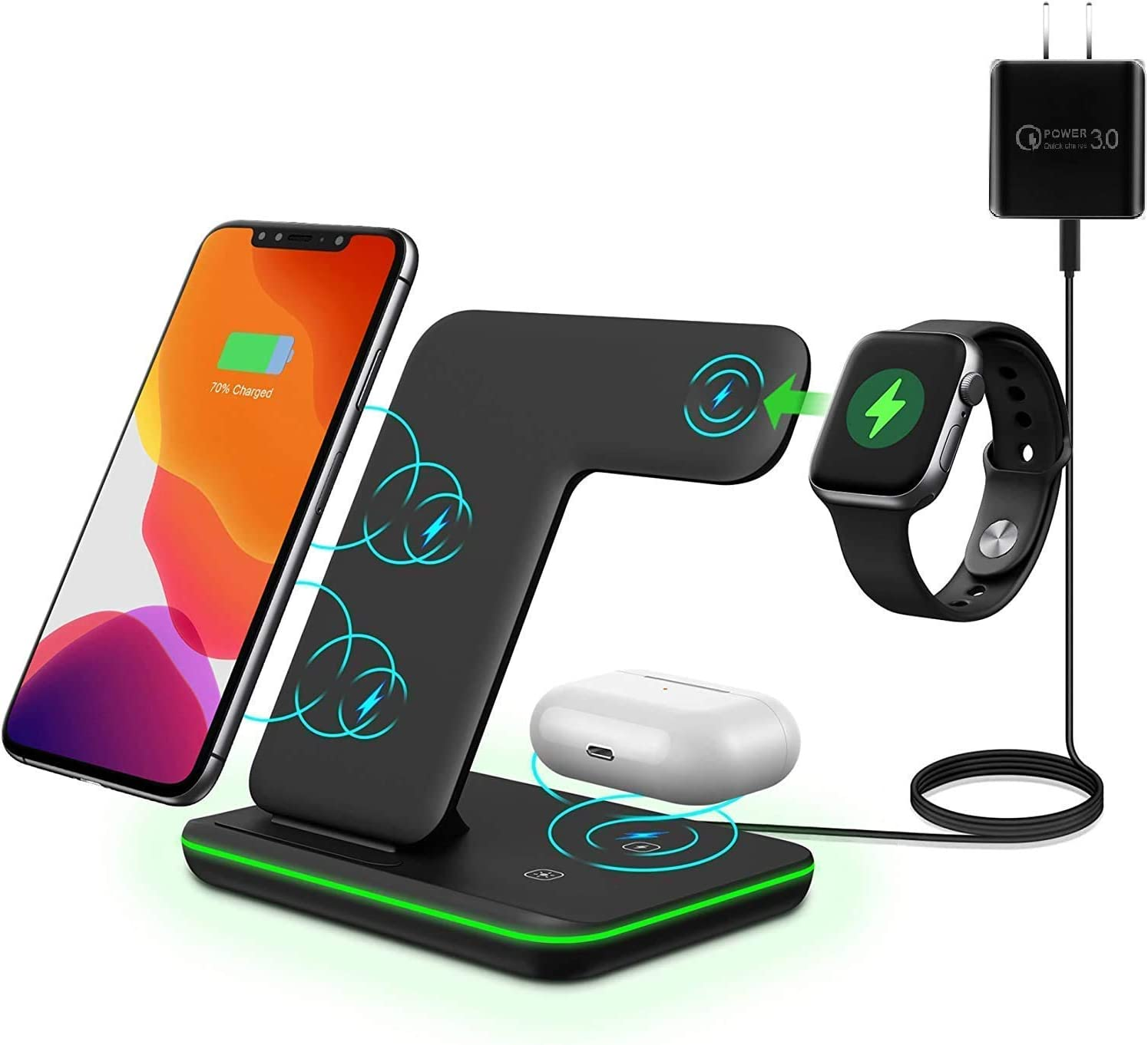 3 in 1 All Wireless 15w Fast Charging Station for Apple iPhones + Watch (S1 - S5: Built-in Watch Charging pad) + AirPods (2 & Pro) - Fast QC3.0 Adapter Included (Black)