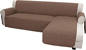 Easy-Going Sofa Slipcover L Shape Sofa Cover Sectional Couch Cover Chaise Slip Cover Reversible Sofa Cover Furniture Protector Cover for Pets Kids Children Dog Cat(Large,Brown/Brown)