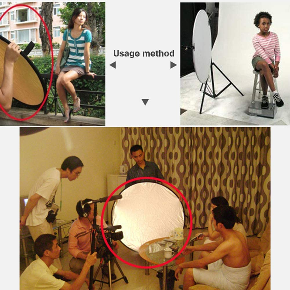 Gold White and Black Balaweis Reflector Photography Accessories 80CM 31 5-in-1 Refletor Portable Light Board with Bag Silver 5 Color Soft Light