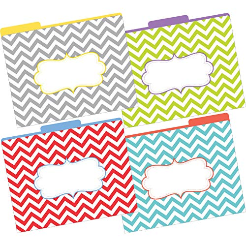 Barker Creek Letter-Size File Folders, The Beautiful Chevron, Pack of 12