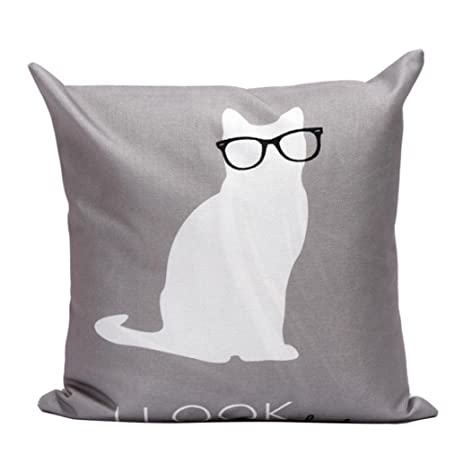 Ninasill Lovely Cat With Glasses Pillow Case Cushion Cover 45cm45cm Home Decor