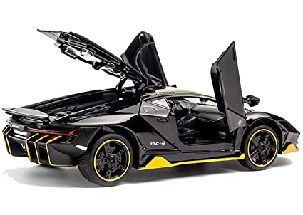 Qualimate 132 Scale Diecast Metal Alloy Sports car Model 4 Wheel Drive  Pull Back car Toy with Light \u0026 Sound (LP770,4)
