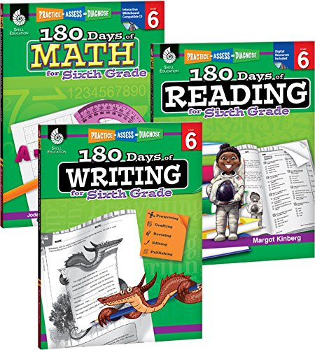 180 Days of Practice for Sixth Grade (Set of 3) 6th Grade Workbooks for Kids Ages 10-12, Includes 180 Days of Reading, 180 Days of Writing, 180 Days of Math
