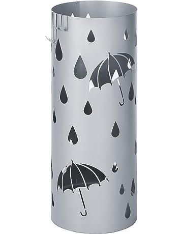 ZGQA-GQA Umbrella Stands Rack Industrial Vintage Umbrella Stand Round Black Metal Indoor Entryway Umbrella Holder with Hooks And Handles Holder Stand