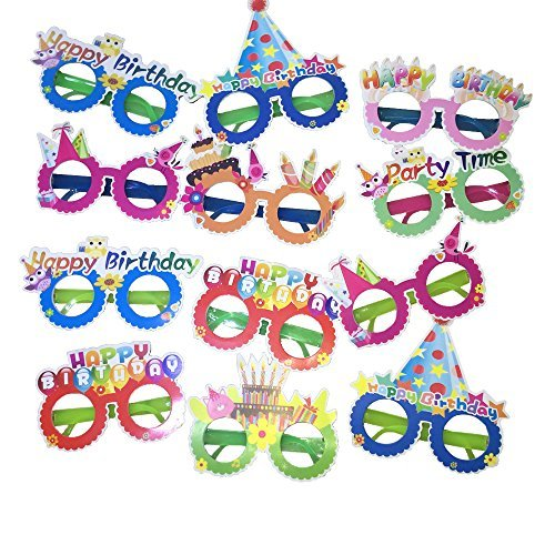 Happy Birthday Glasses,12 Pieces Photo Booth Props]()