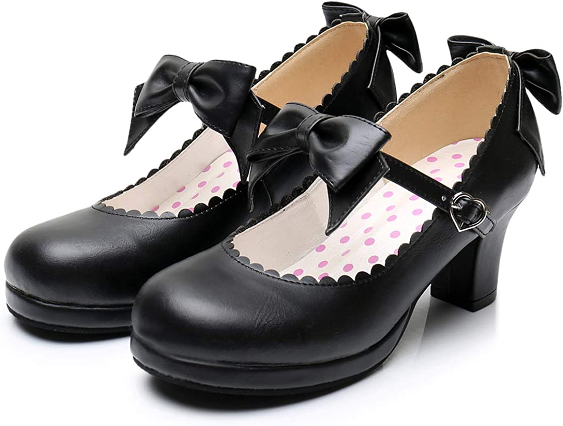 Japanese Sweet Lolita Cosplay Shoes PU Leather Bow Strap Princess Pumps Mary Jane Shoes