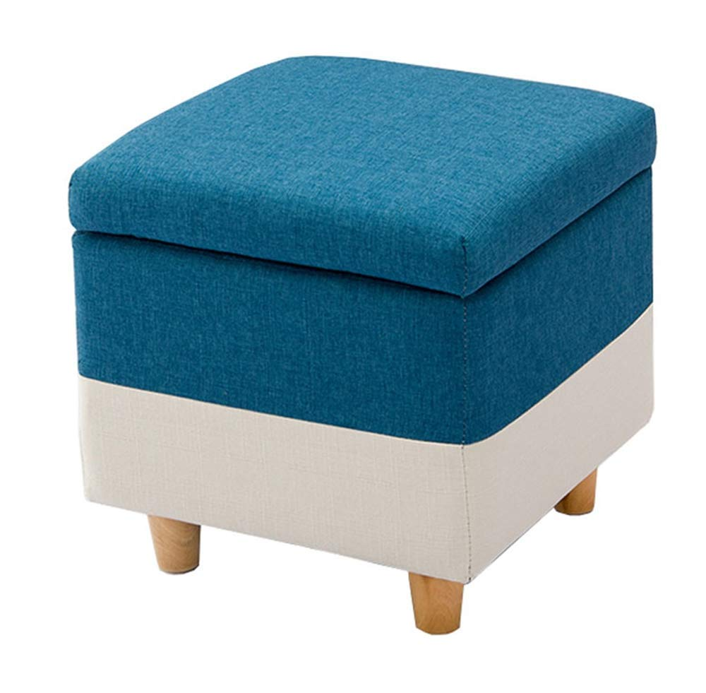 40x40x42cm Solid Wood Footstool, Home Storage Stool Furniture Sofa Bench, Toy Storage Stool, 4 Foot Support,75x40x42cm
