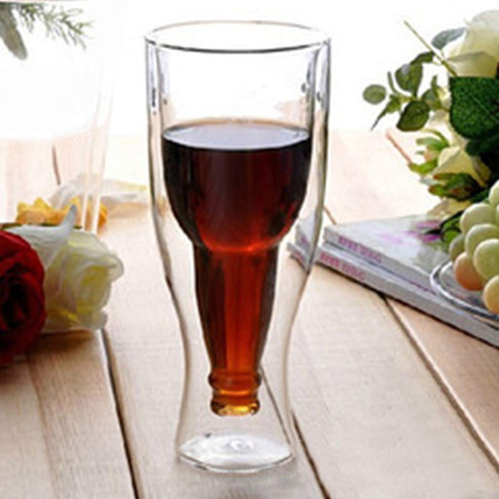 Asusual Double Walled Beer Glass Hopside Longneck Upside Down Gift Inverted Drinking