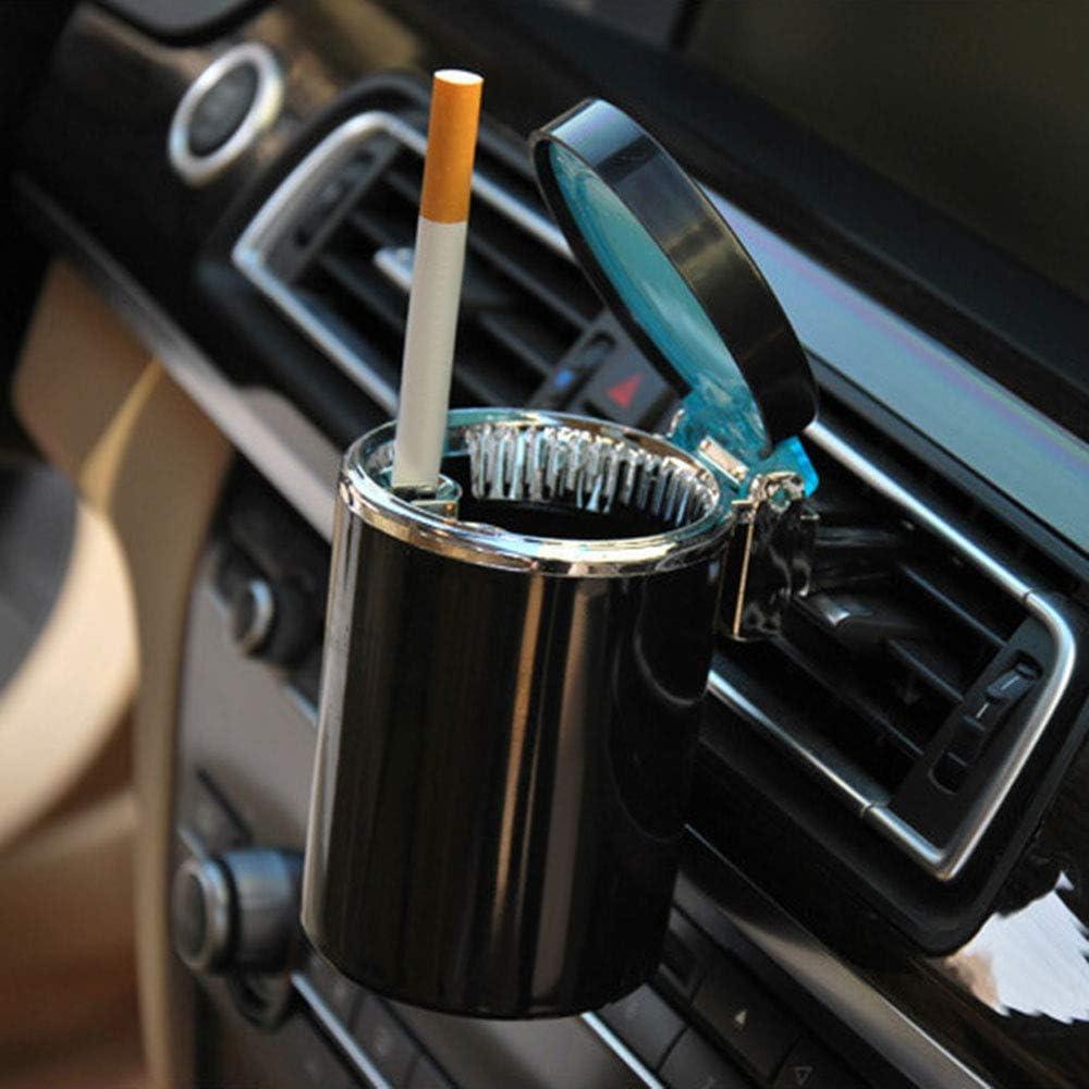 Schwarz 2 St/ück Rauchfrei Auto Aschenbecher Zigarette Aschenbecher Auto Aschenbecher Deckel Aschenbecher mit LED-Licht Tragbar Globaldream Auto Aschenbecher