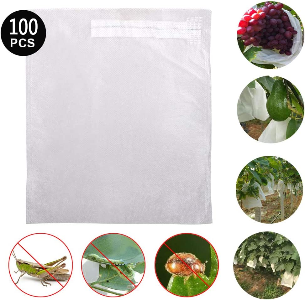 GREENWISH Garden Netting Bags, 100 Pack Nylon Net Barrier Bag with Drawstring for Protecting Plant Seed Fruit Flower Vegetable, Reusable Mesh Protect Bag, Against Bird