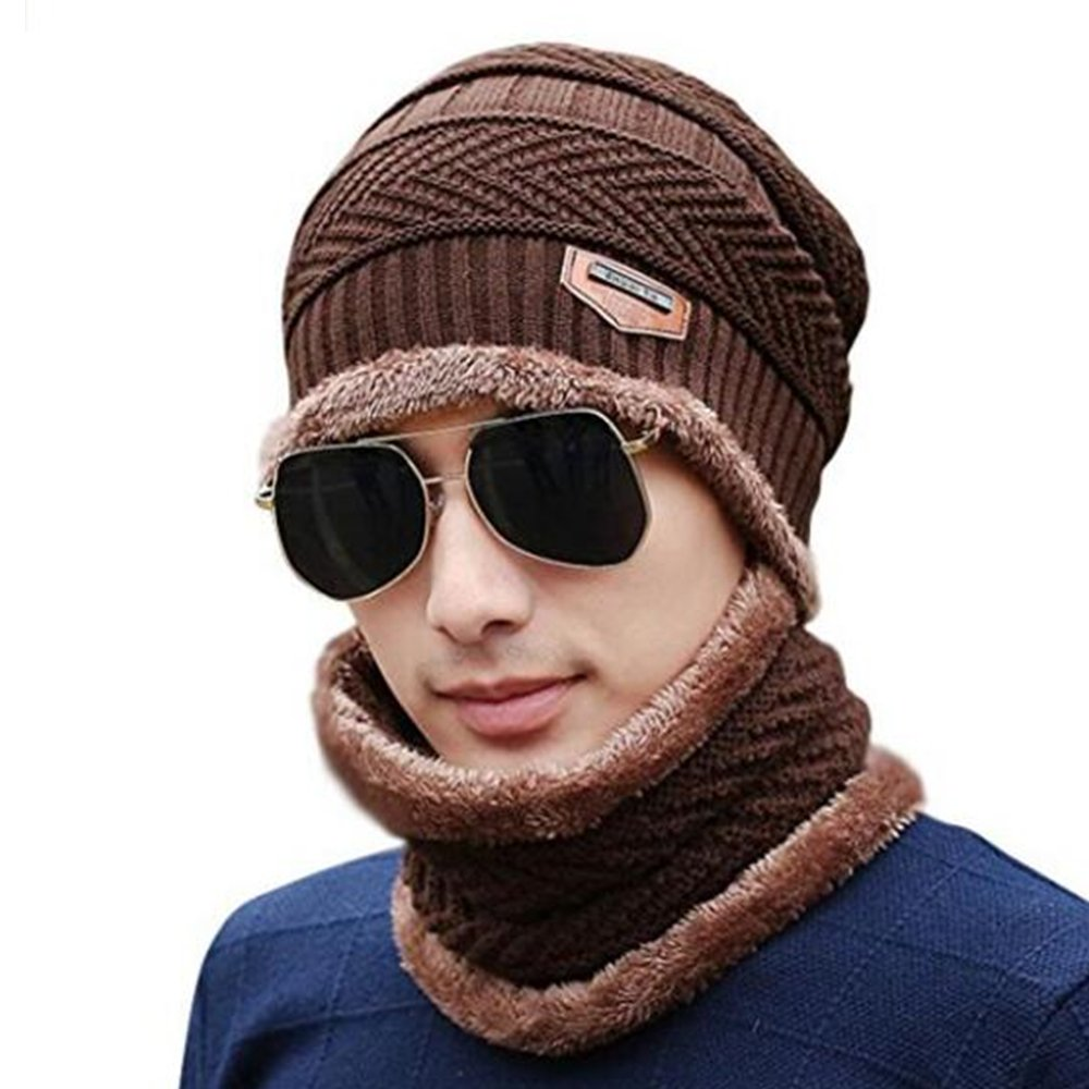 FuzzyGreen FuzzyGreenSoft Thick Stretchy Knit Cap Warm Fleece Beanie Hat Scarf Set