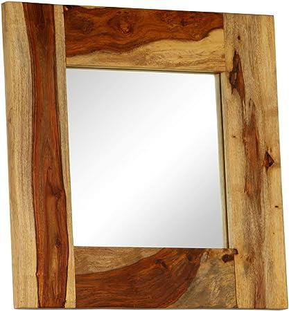 ROMELAREU Espejo de Madera Maciza de Sheesham 50x50 cmCasa y jardín Decoración Espejos: Amazon.es: Hogar