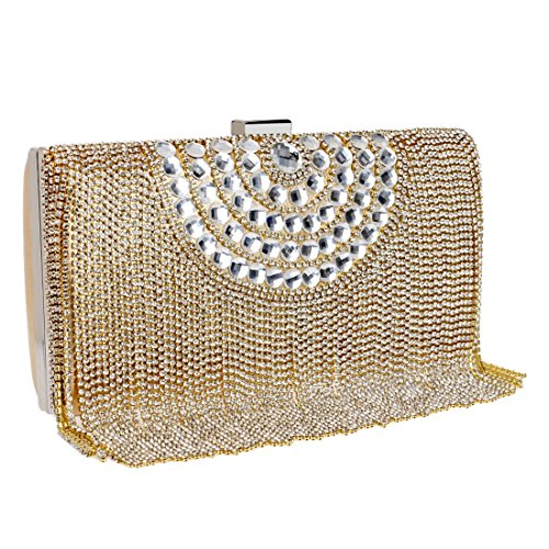 sera Haxibkena Lady Exquisite Luxury colore Party Clutch borsa Borsa nero nappa Banquet da Bride Oro q4wPqaT