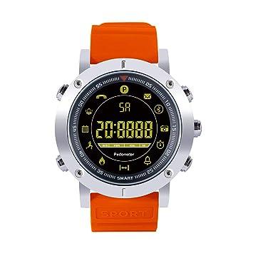 Antone - Reloj Inteligente Deportivo con Monitor de frecuencia cardíaca, Bluetooth 4.0, Resistente al Agua, para Android iOS, 0.74, Color Naranja: ...