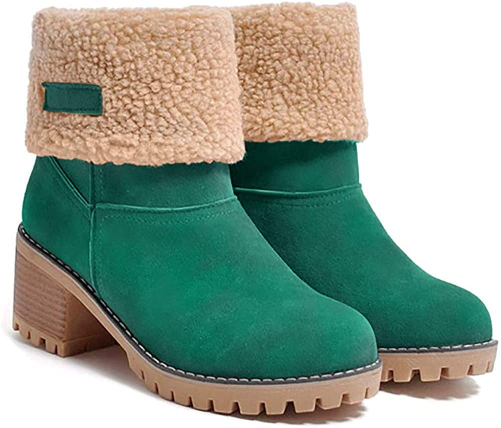 JUSTFASHIONNOW Women's Ankle Snow Boots Warm Short Boots Suede Chunky Mid Heel Round Toe Winter Hiking Outdoor Booties