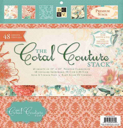 Die Cuts with A View 12-inches by 12-inches Premium Paper Stack with Glitter/Foil, Coral Couture