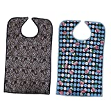Baoblaze 2x Reusable Waterproof Adult Mealtime Bib Protector Clothing Disability Aid Aprons with Food Catcher & Snap Closure