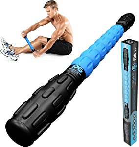 Muscle Roller Leg Massager - Best Massage Roller Stick for Athletes - Deep Tissue - Trigger Points, Cramps, Quads, Calf & Hamstring Tightness, Myofascial Release - Reach Places Foam Rollers Can't