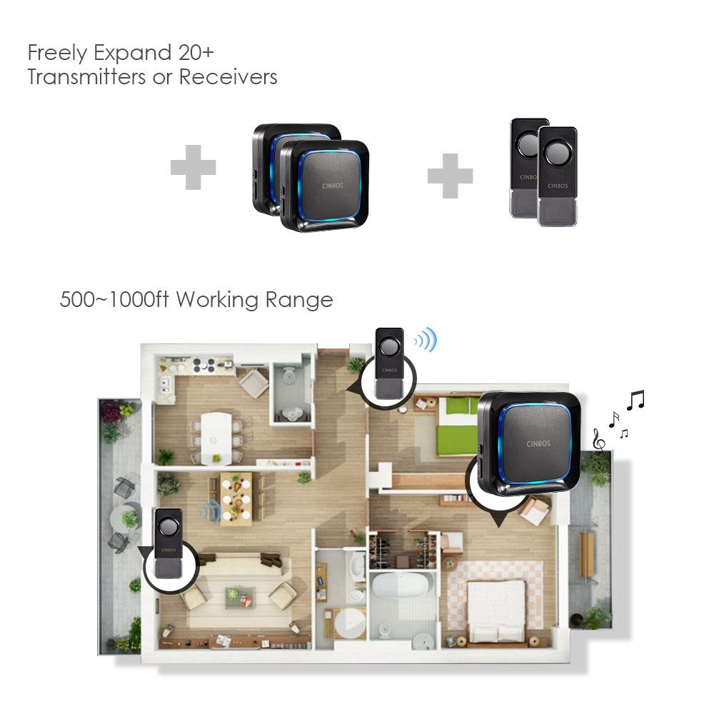 Operating at 1000 Ft Long Distance Wireless Door Bell Chime with 2 Waterproof Transmitters and 1 Receiver Black