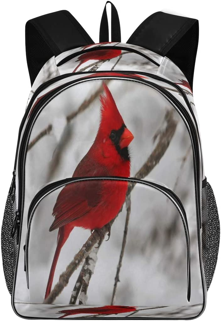 Vdsrup Winter Snowflakes Cardinal Birds Courtyard Trees School Backpack Christmas Snowman Bookbags Large Water Resistant Laptop Backpacks Lightweight Travel Daypack Chic College Bag