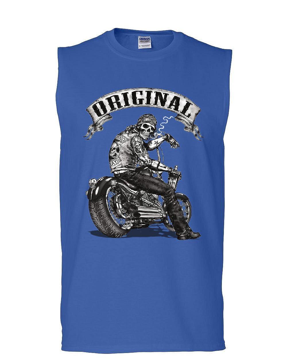 Tee Hunt Original Biker Skull Muscle Shirt Ride or Die Route 66 Motorcycle MC Sleeveless