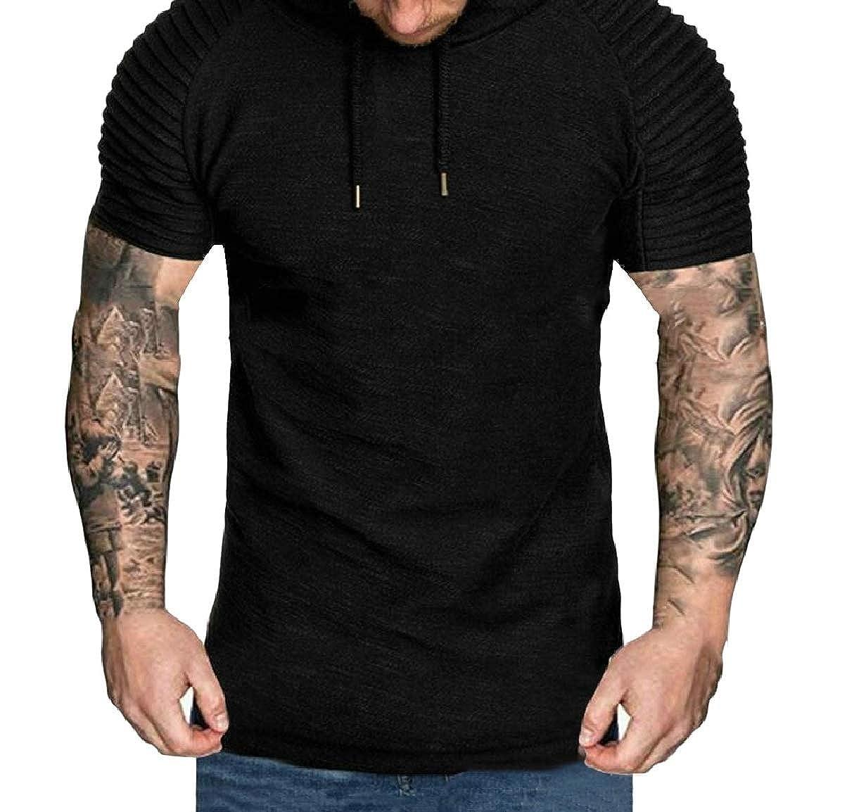 CBTLVSN Mens Short Sleeve Hoodie Stripe Solid Slim Fit Round Neck T-Shirt