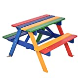 Costzon Kids Picnic Table Set, Colorful Wood Picnic Table and Benches with Removable/Folding Umbrella, Children Rainbow Bench Outdoor Patio Set