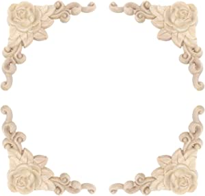 Tulead Furniture Appliques Wooden Onlay Decorative Appliques 100x100mm Rose Pattern Unfinished Corner Onlay Pack of 4