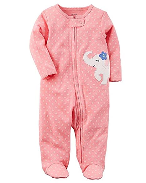 Carters Baby Girls Elephant Cotton Zip-Up Sleep & Play Preemie