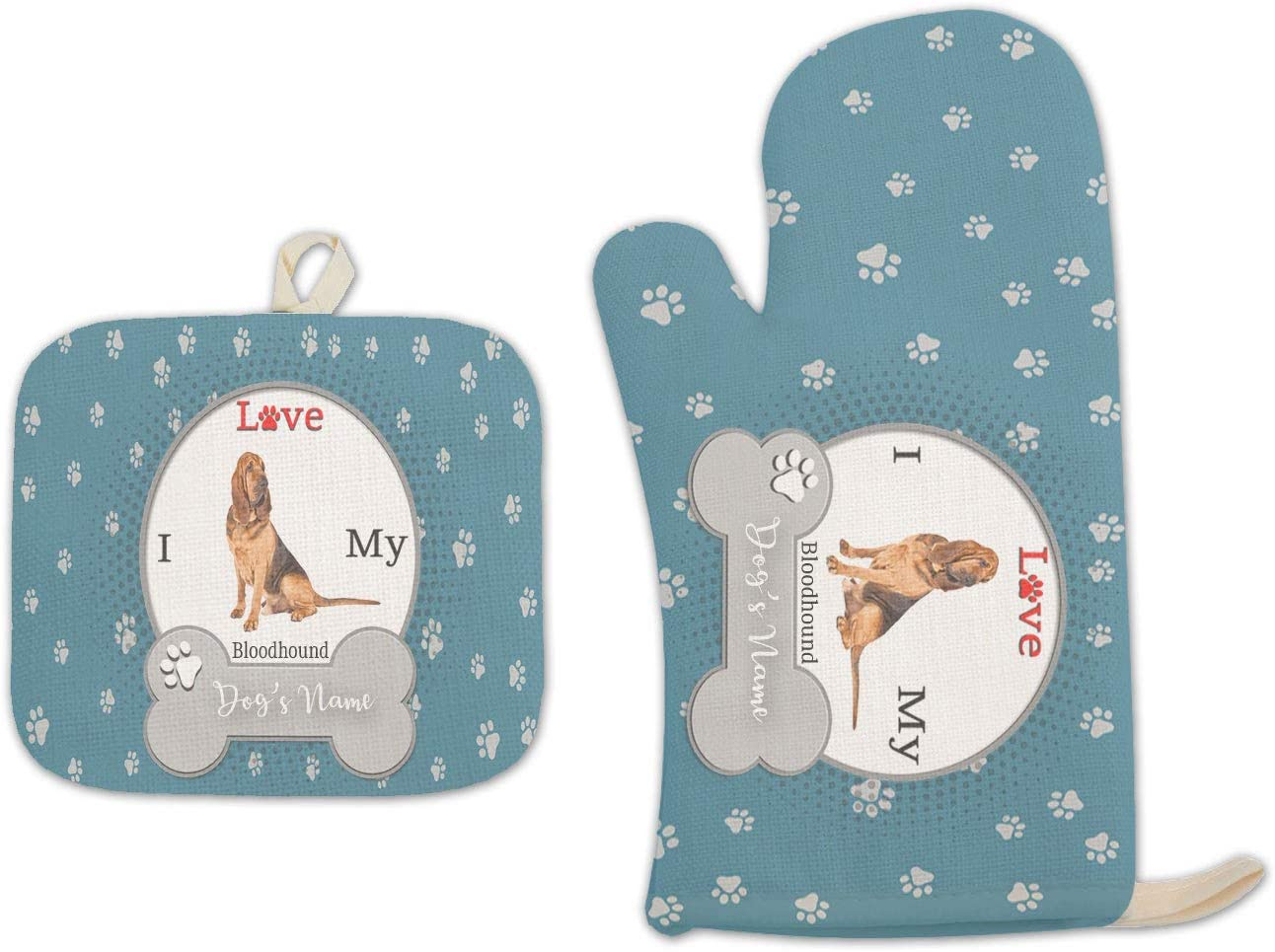 BRGiftShop Personalized Custom Name I Love My Dog Bloodhound Linen Oven Mitt and Potholder Set