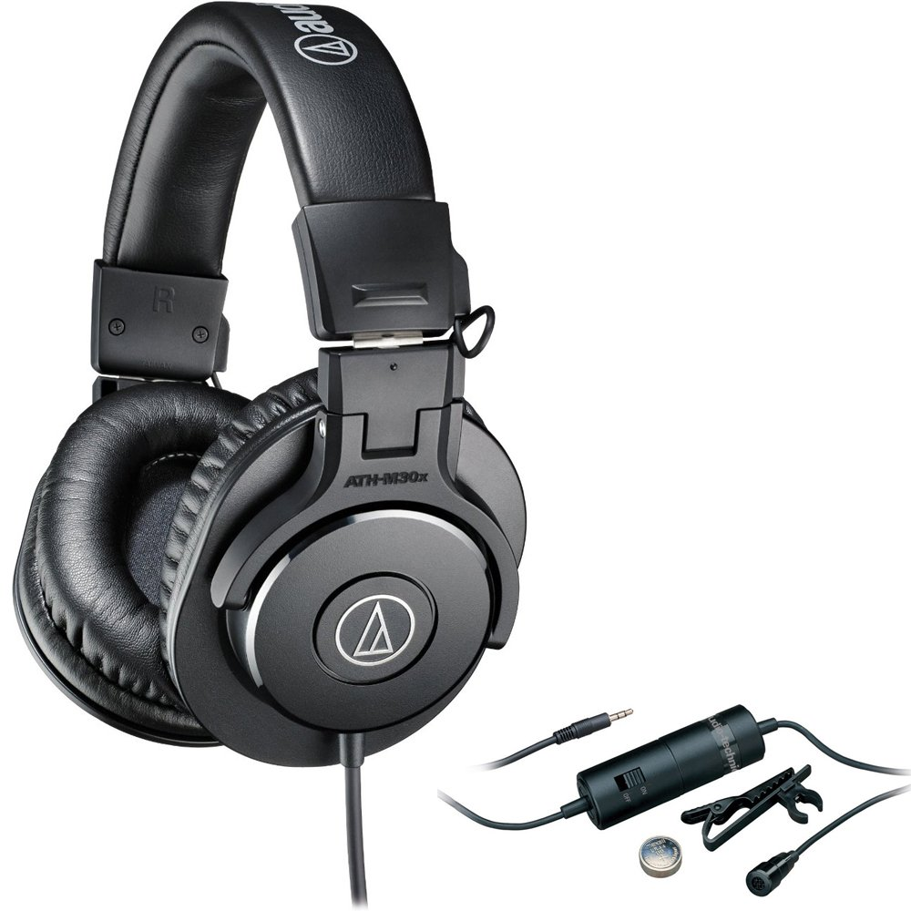 Audio-Technica Professional Headphones (ATHM30X) Omnidirectional Condenser Lavalier Microphone