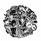 Image of Laptop Stickers [120pcs], Toufftek [Black & White] Vinyl Sticker Graffiti Decal Perfect to Laptops, Skateboards, Luggage, Cars, Bumpers, Bikes, Motorcycle, Helmet, Window, Guitar, Snowboard
