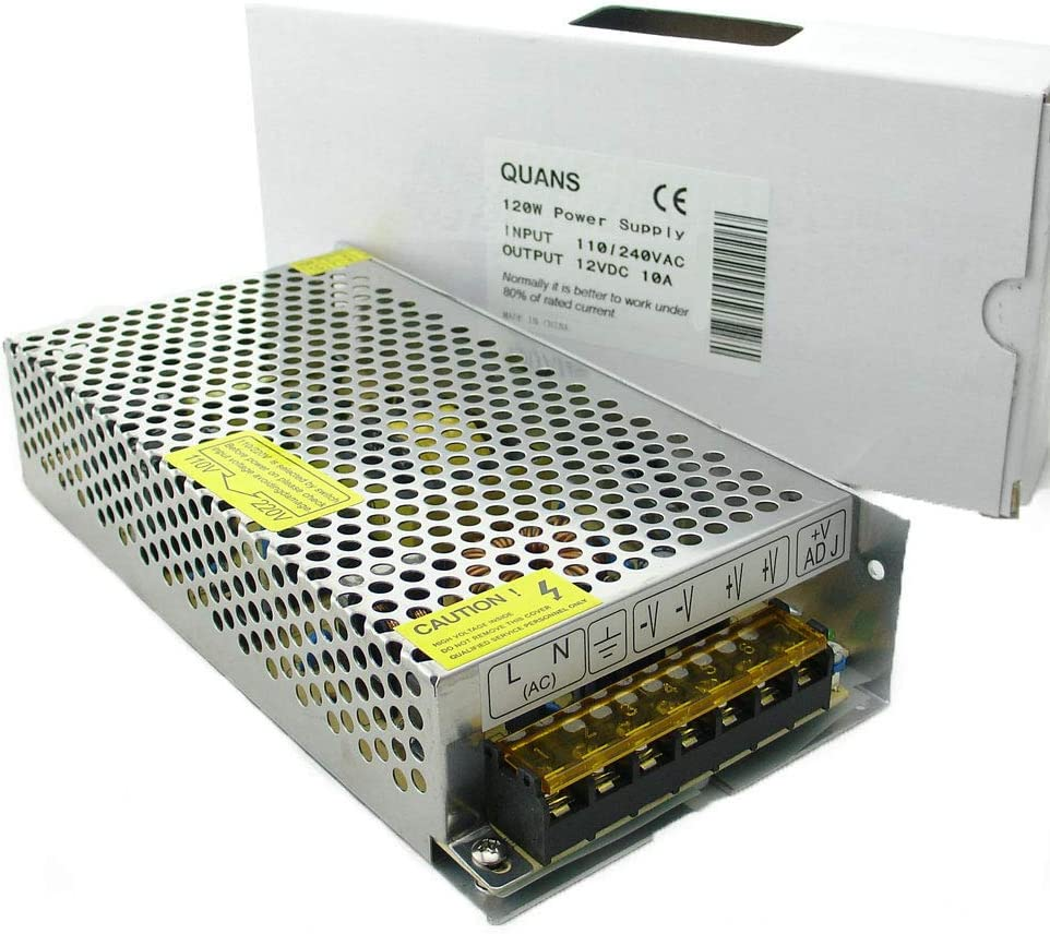 QUANS 110VAC to 12V DC 10A 120W Watt Universal Regulated Switching Power Supply Transformers for LED Strips Display CCTV Radio
