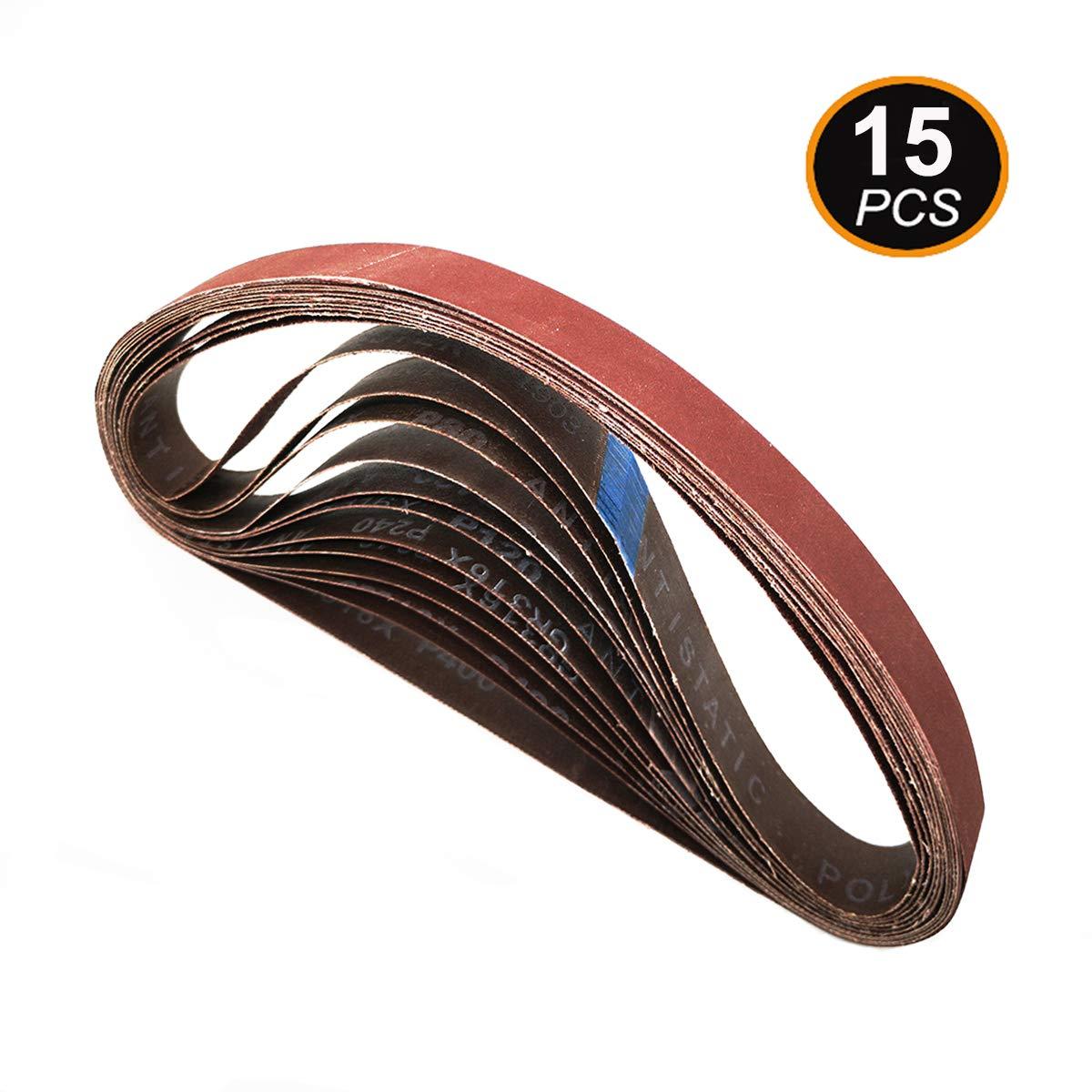 Aiyard 1 x 30-Inch Aluminum Oxide Sanding Belts, 40/80/120/240/400 Assorted Grits Abrasive Belts for Belt Sander, 15-Pack