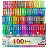 Glitter Gel Pen, 100 Neon Glitter Gel Pens Art Marker for Adult Coloring Books Bullet Journal Crafting Doodling Drawing -Perfect Gift Idea