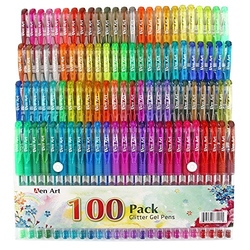 100 Color Glitter Gel Pen Set, 30% More Ink Neon Glitter Coloring Pens Art Marker for Adult Coloring Books Bullet Journal Crafting Doodling Drawing