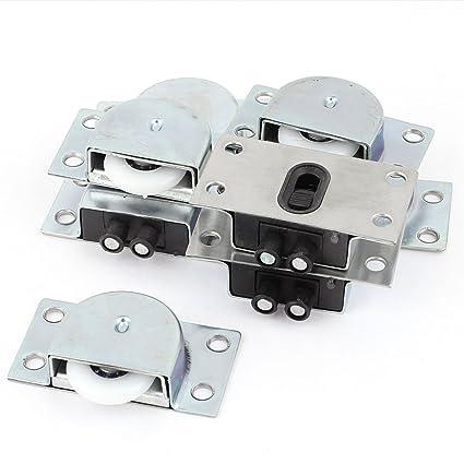 sourcingmap® Armario Gabinete Plástico Metal rueda corrediza puerta del Barraillo Set 4 pares