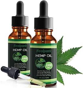 (2 Pack 1000mg) Hemp Oil for Relief Anxiety Stress - Natural Organic Hemp Seed Extract Hemp Drops Rich in Vitamin & Omega, Zero THC CBD Cannabidiol - Pure Hemp Oil Drops