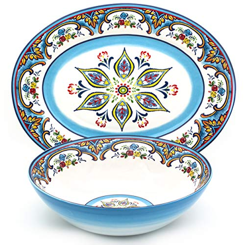 EuroCeramica YS-ZB-1021 16 Piece Dinnerware Set Kitchen and Dining, 2 Serving Bowl and Oval Platter, Spanish Floral Design, Multicolor, Blue and Yellow