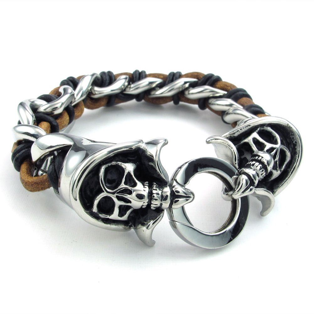 Gothic Skull Casted Grim Reaper Bangle Silver Black Brown TEMEGO Jewelry Mens Stainless Steel Leather Bracelet